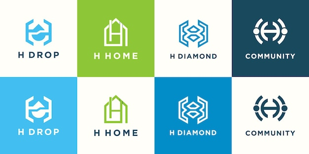 Combination letter h with abstract logo design