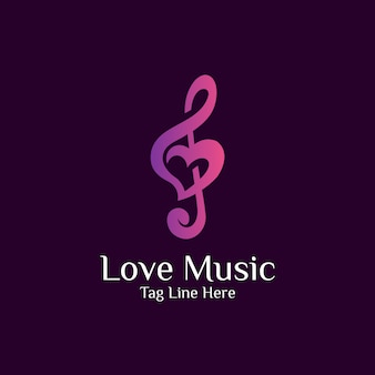 Combination love and music logo design