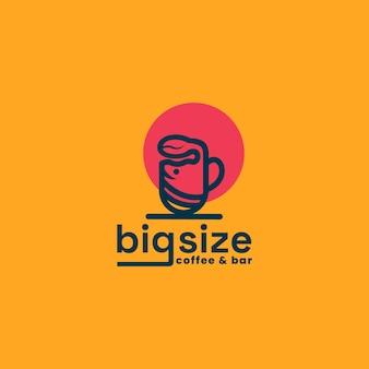 커피 콩과 고래의 조합, 커피 판매의 큰 크기, eps 10의 벡터 로고 템플릿.