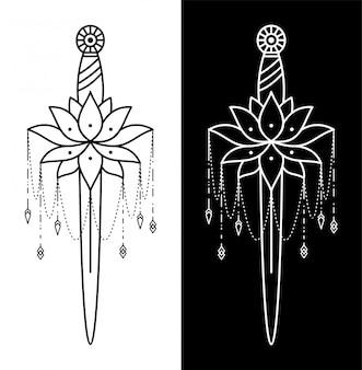 蓮の花の入れ墨と短剣の組み合わせ