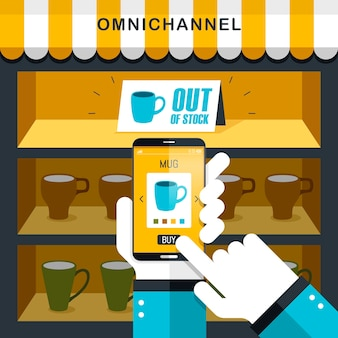Combination of omni-channel experience in flat design