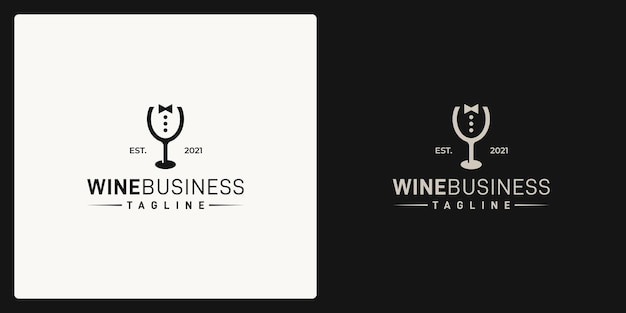 Combination of the shape of the wine glass and the shape of the businessman. logo in retro, vintage, classic style.