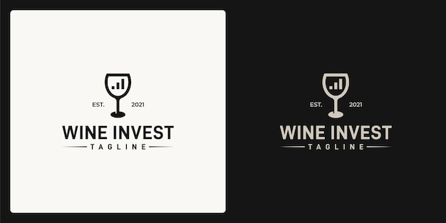 Combination of the shape of the wine glass and the shape of the investment chart. logo in retro, vintage, classic style.