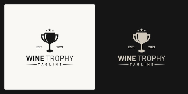 Combination of the shape of the wine glass and the shape of the trophy. logo in retro, vintage, classic style. Premium Vector