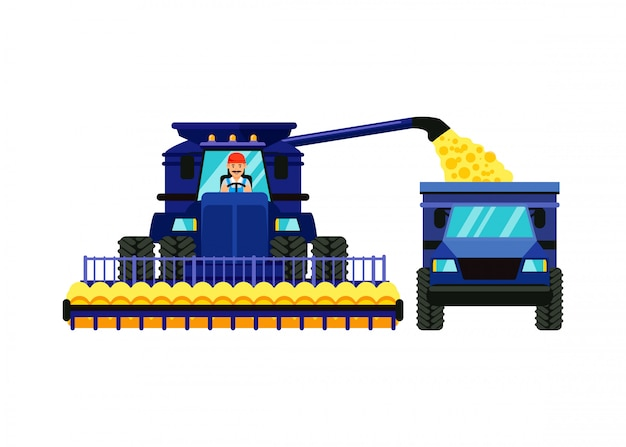 Combine harvester cartoon vector illustration