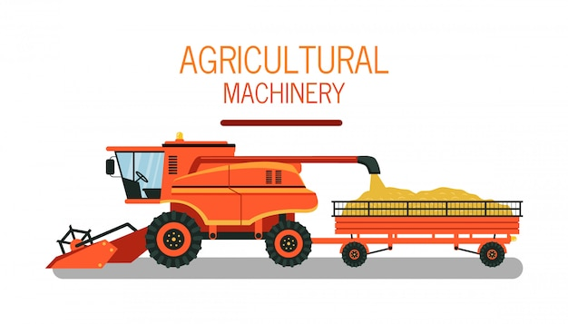 Combine harvester with cart vector illustration
