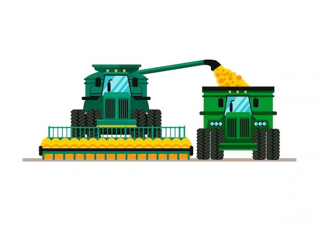Combine harvesting wheat cartoon illustration