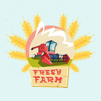 Combine harvesting wheat crop in field eco fresh farm logo
