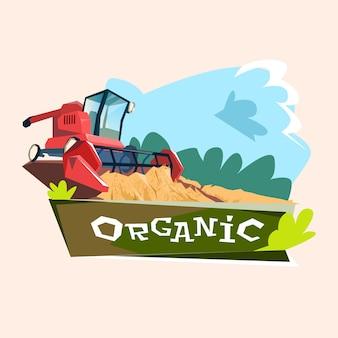 Combine harvesting wheat crop in field organic farming logo