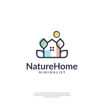 Combine house and leaf with minimalist line art logo template