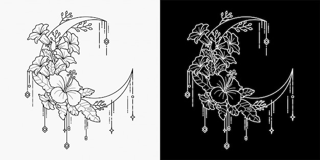 Combining hand drawing of moon and flower tattoos