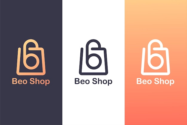 Combining the letter b logo with a shopping bag, the concept of a shopping logo.