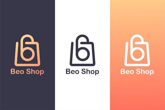 문자 b 로고와 쇼핑백을 결합한 쇼핑 로고 개념.