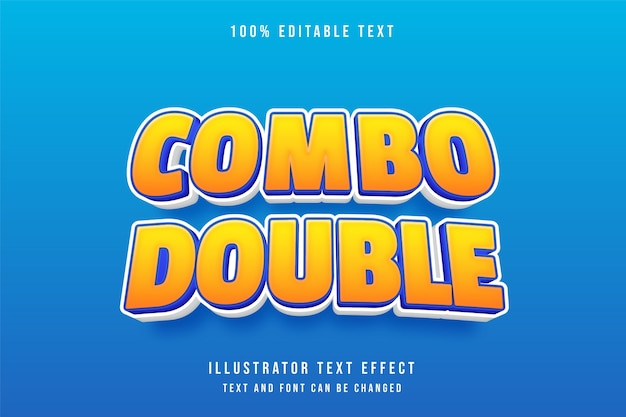 Combo double,3d editable text effect yellow gradation orange comic style effect