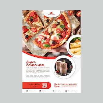 Modello di poster sconto pasti combinati
