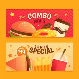 Combo meals fast food banners set