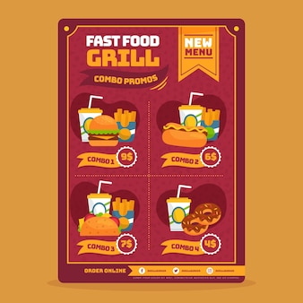 Combo meals fast food poster template