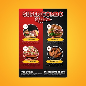Modello di poster fast food di pasti combinati