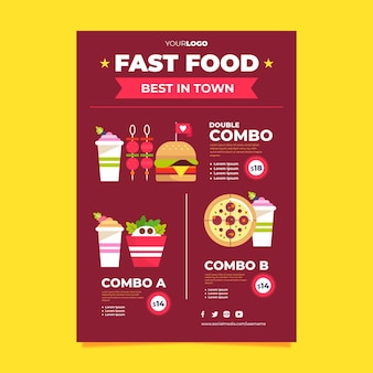 Combo meals fast food poster