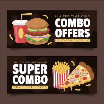 Combo meals offer horizontal banners illustrated