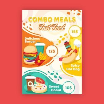 Концепция плаката комбинированных блюд