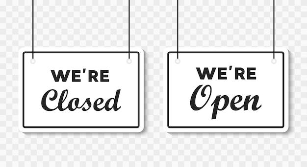 우리는 투명한 배경에 밧줄로 간판에 열려 있거나 닫혀 있습니다. 벡터 일러스트 레이 션