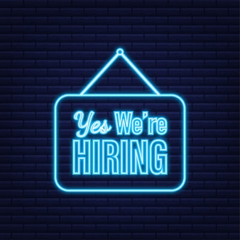 Come in we're hiring hanging sign. sign for door. neon icon. vector illustration.