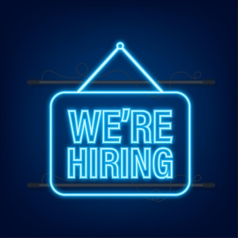 Come in we re hiring hanging sign. sign for door. neon icon. vector illustration