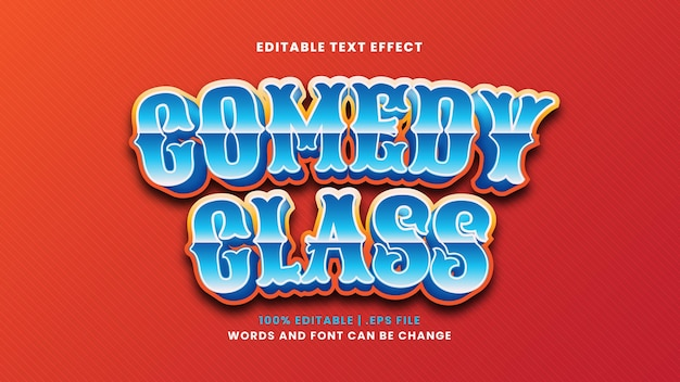 Comedy class editable text effect in modern 3d style