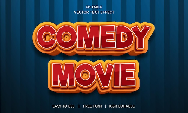 Comedy movie editable text effect with premium vector