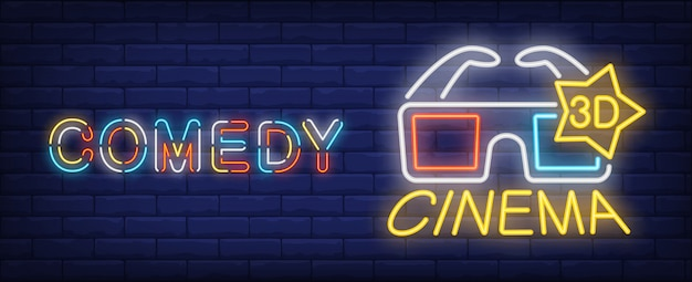Comedy movie neon sign. luminous 3d glasses on brick wall background.