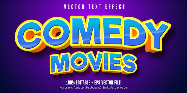 Comedy movies text, cartoon style editable text effect