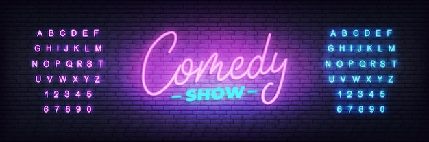 Comedy show neon. lettering neon glowing sign