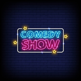 Comedy show neon signs style text vector