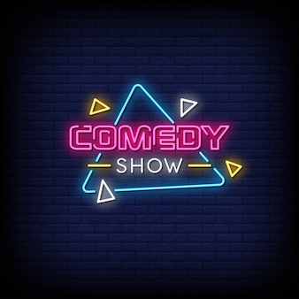 Comedy show neon signs style text