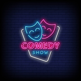 Comedy show neon signs style text Premium Vector