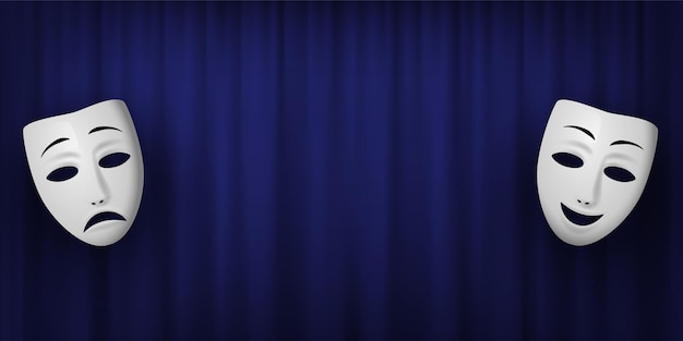 Comedy and tragedy theatrical mask isolated on a blue curtain background