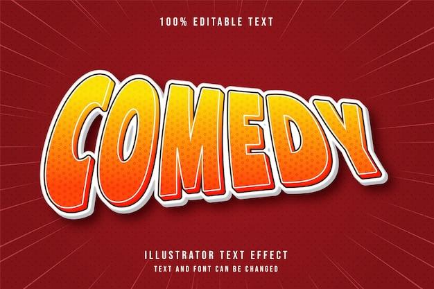 Comedy3d 편집 가능한 텍스트 효과 노란색 그라데이션 오렌지 현대 그림자 스타일