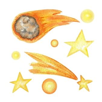 白い背景の上の太陽系水彩分離イラストの彗星と星。