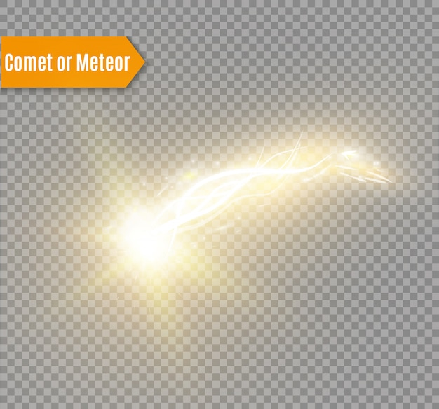 Comet, meteor or fire on transparent background.
