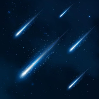 Comet shower in the starry sky. comet in space, cosmos shower starry, comet night sky, comet illustration. vector abstract background