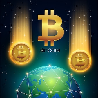 Comet With Golden Bitcoin Symbol falls to the network earth from space