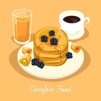 Концепция иллюстрации коллекции еды комфорта