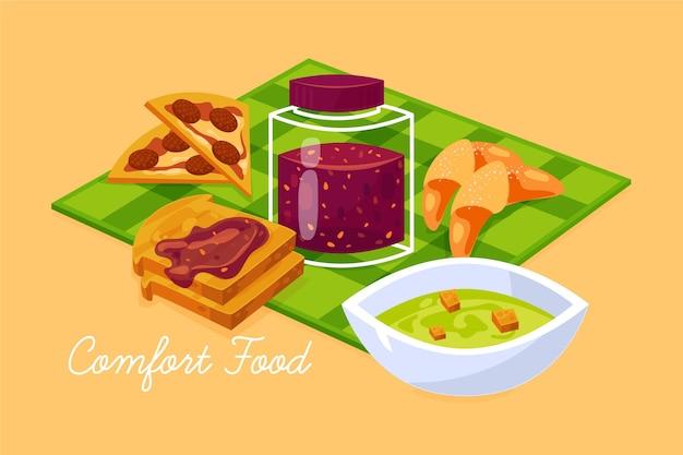 Дизайн иллюстрации коллекции продуктов питания comfort
