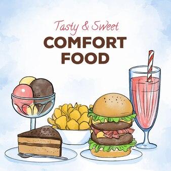 Collezione di alimenti comfort