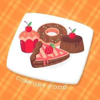 Comfort food concept with dessert