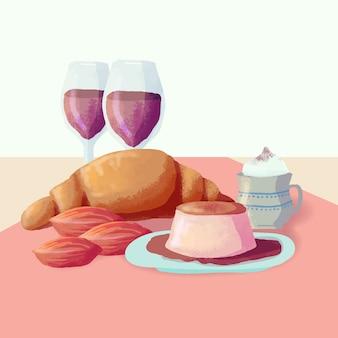 Комфорт еда круассаны и вино