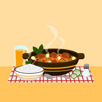 Comfort food illustration with meal