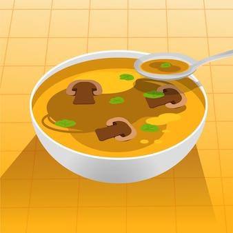 Illustrazione dell'alimento di comodità con zuppa di funghi