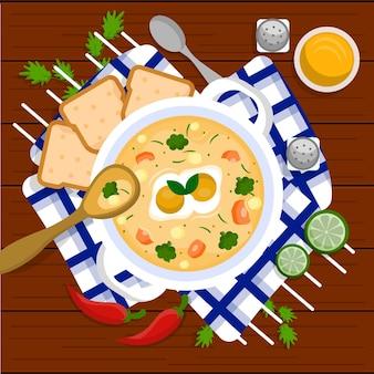 Illustrazione dell'alimento di conforto con minestra